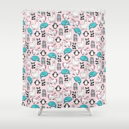 Panda, Narwhal, Llama, Penguin, Hippo, Girl's Animal Illustrations, Pink Print Shower Curtain