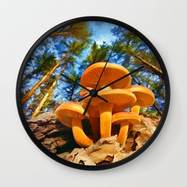 Blackbird Mushrooms Wall Clock