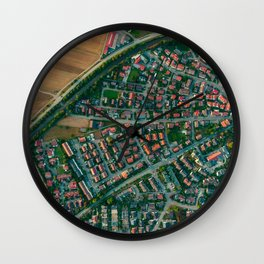 Farm vs City Aerial (Color) Wall Clock