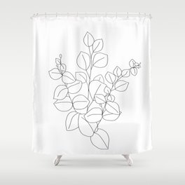 Minimalistic Eucalyptus  Line Art Shower Curtain