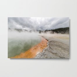 The boiling waters of champagne lake in Taupo new zealand and a incoming storm over the horizon Metal Print