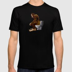Bigfoot breaks into some Dude's Cabin and Totally takes a fat Dump in his toilet Mens Fitted Tee MEDIUM Black