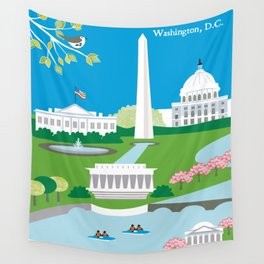 Washington, D.C. - Skyline Illustration by Loose Petals Wall Tapestry