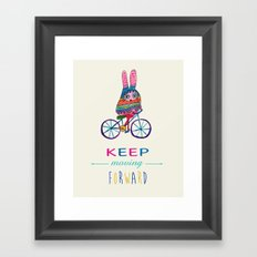 Bunny on a bike Framed Art Print