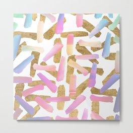 Modern pink lavender teal gold watercolor brushstrokes Metal Print