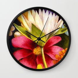 'Moi et Mes Parroquets' floral portrait painting by Frida Khalo Wall Clock