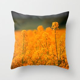 Orange Rapeseed Throw Pillow