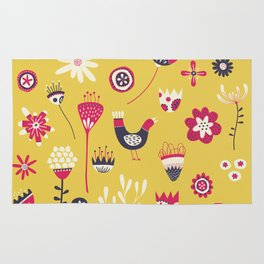 Scandi Floral Yellow Rug