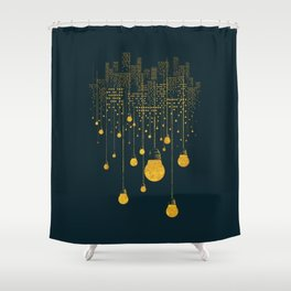 Light Bulb City skyline Shower Curtain