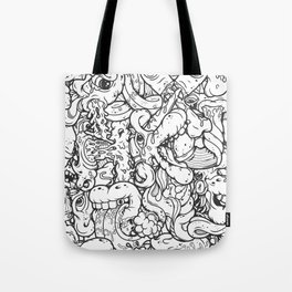 Alphabetcha Collage b&w Tote Bag