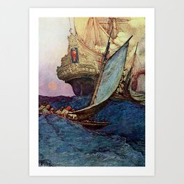 """Book of Pirates"" Cover by Howard Pyle Art Print"