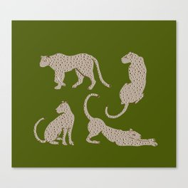 Leopard Block Party - Olive Canvas Print