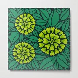 Spring Green Floral pattern Metal Print