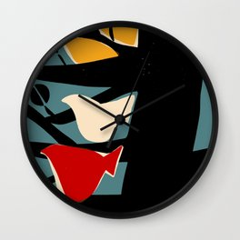 White and red birds on a black tree Wall Clock