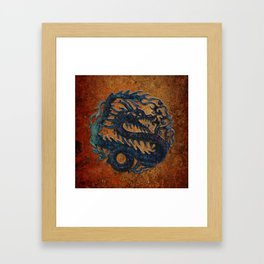 Blue Chinese Dragon on Stone Background Framed Art Print
