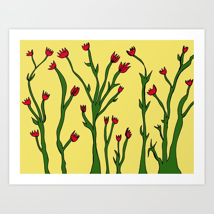 Long flowers Art Print