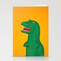 t rex Stationery Cards featuring T-Rex by Yana Elkassova
