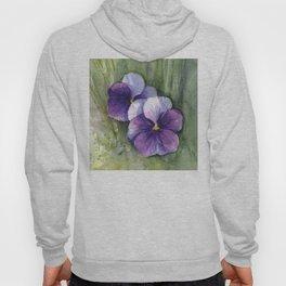 Purple Pansies Watercolor Flowers Painting Violet Floral Art Hoody