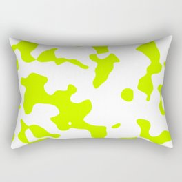 Large Spots - White and Fluorescent Yellow Rectangular Pillow