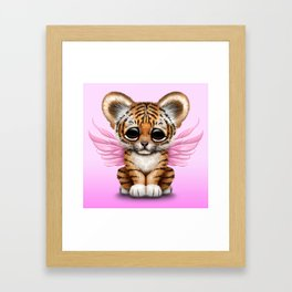 Cute Baby Tiger Cub with Fairy Wings on Pink Framed Art Print
