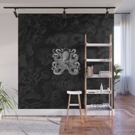 Octopus1 (Black & White, Square) Wall Mural