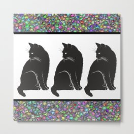 Three Black Cats Metal Print