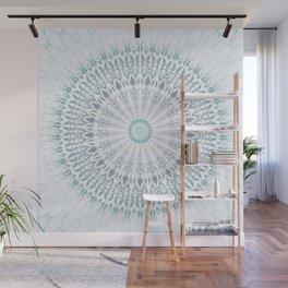 Teal Aqua Mandala Wall Mural