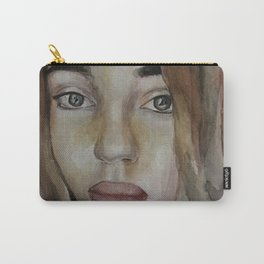 Art, watercolor portrait beautiful girl Carry-All Pouch