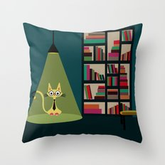 intellectual cat Throw Pillow