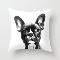 french bulldog Throw Pillows featuring French BullDog by Maioriz Home