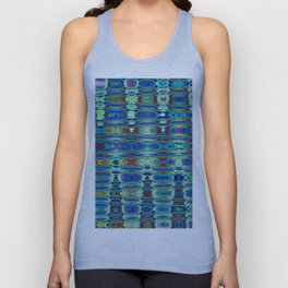 Abstract High Texture Weaving Pattern Blue Green Unisex Tank Top
