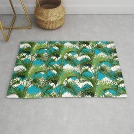 Geometric Palm Leaf Pattern - Turquoise Gold Rug