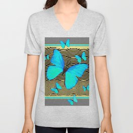 Blue Butterflies On black-yellow Grey Patterns Unisex V-Neck