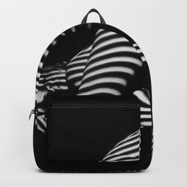 7454-KMA Striped Woman Head Down Bottom Up Black White Photo Backpack
