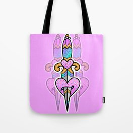 pink heart & dagger Tote Bag