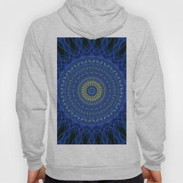 Mandala in dark blue tones with yellow flower Hoody