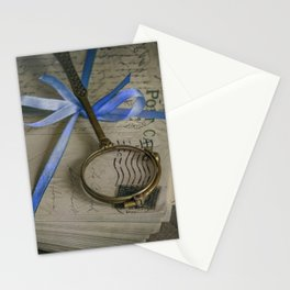 Still life with old letters and vintage loupe Stationery Cards