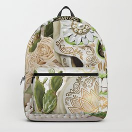 Purity -Sugar Skull, White Roses, Gold, Cactus and Marble Backpack