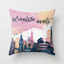 Adventure Awaits Watercolor Throw Pillow