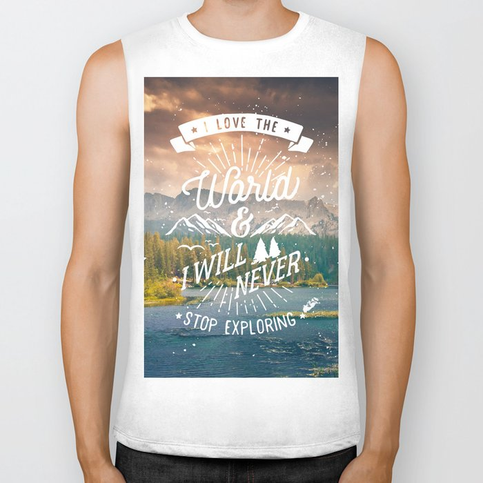 Inspirational Quote and Mountains III Biker Tank