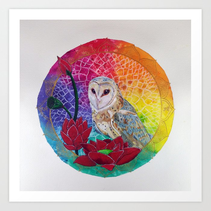 Night Owl Keepers curates Lakshmi's Vahana - Bird Whisperer Project Owl - Art Print by janinwise at Society 6