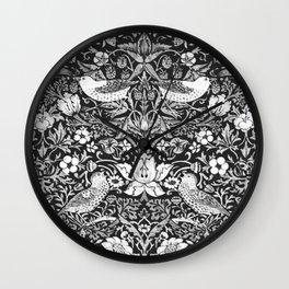 Art Nouveau Bird & Flower Tapestry, Black & White Wall Clock