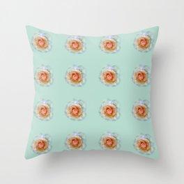 bed of roses: eau de nil wallpaper Throw Pillow