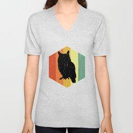 Distressed Owl Ugle Hexagon Unisex V-Neck