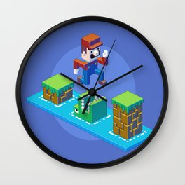 Isometric Mario pixel art Wall Clock