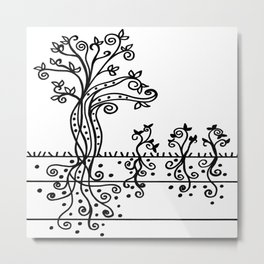 Strong Roots - Black and White Metal Print