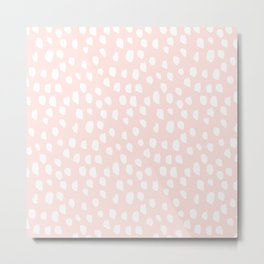 Handdrawn dots on pink- Mix&Match with Simplicty of life Metal Print