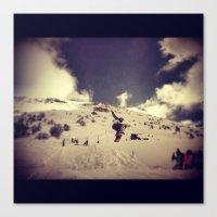 snowboarding Canvas Prints featuring Snowboarding by Zumazan