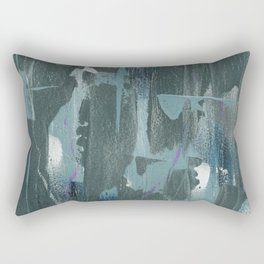 Blue and Green Abstract Acrylic Painting Rectangular Pillow