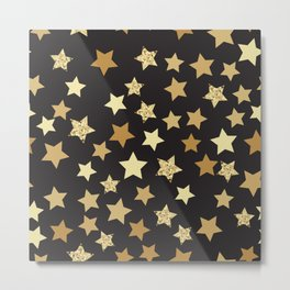 Golden Stars on Black Background Pattern Metal Print